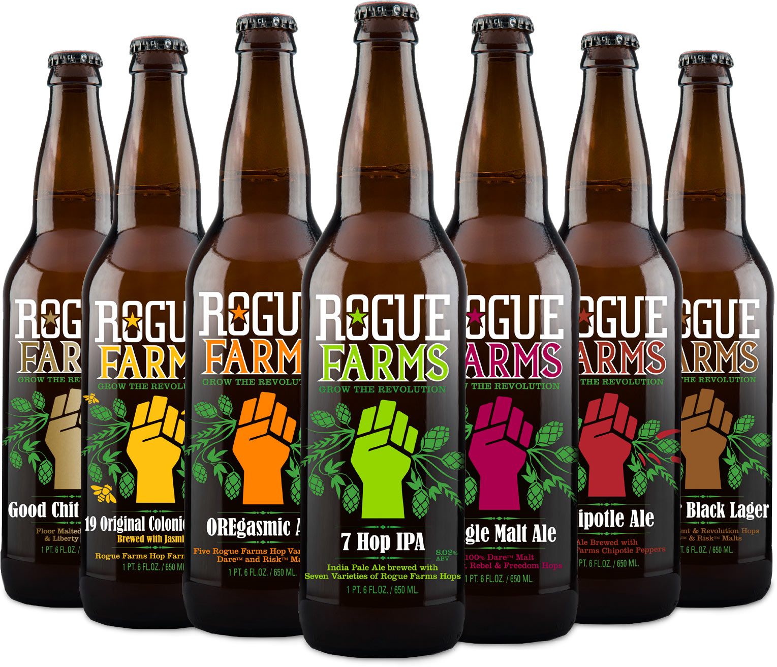 Rogue Farms bottle labels